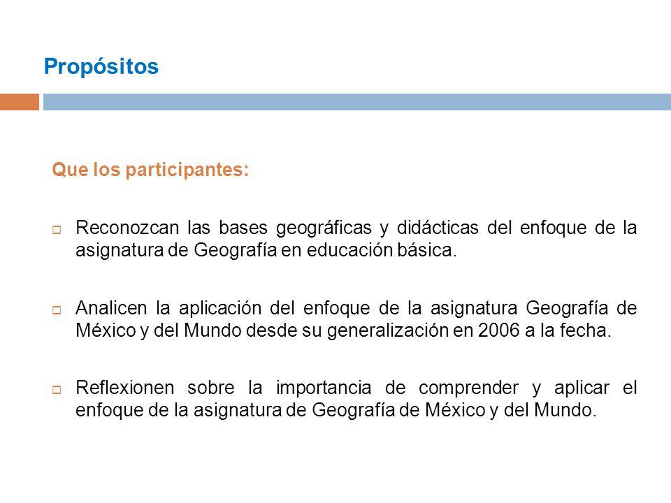 Propósitos Que los participantes: Reconozcan las bases geográficas y didácticas del enfoque de la asignatura de Geografía en educación básica.