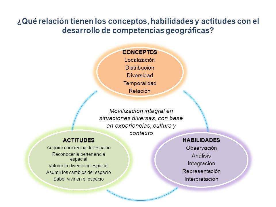 ¿Qué relación tienen los conceptos, habilidades y actitudes con el desarrollo de competencias geográficas? CONCEPTOS Localización Distribución Diversi