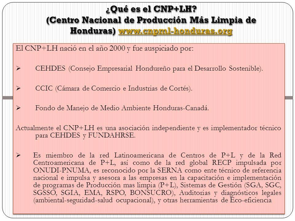 El CNP+LH nació en el año 2000 y fue auspiciado por: CEHDES (Consejo Empresarial Hondureño para el Desarrollo Sostenible). CCIC (Cámara de Comercio e