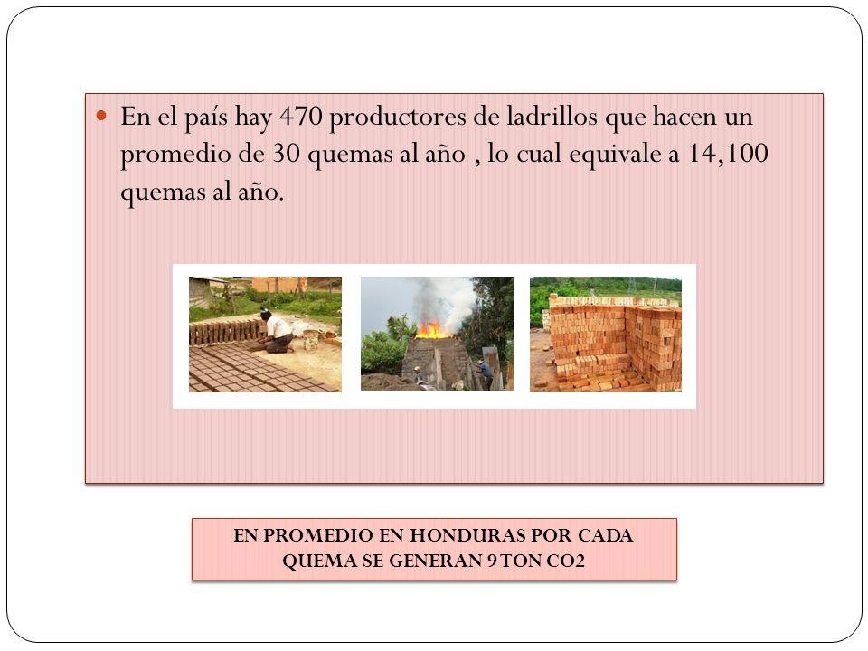 En el país hay 470 productores de ladrillos que hacen un promedio de 30 quemas al año, lo cual equivale a 14,100 quemas al año. EN PROMEDIO EN HONDURA