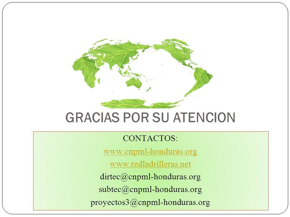 GRACIAS POR SU ATENCION CONTACTOS: www.cnpml-honduras.org www.redladrilleras.net dirtec@cnpml-honduras.org subtec@cnpml-honduras.org proyectos3@cnpml-
