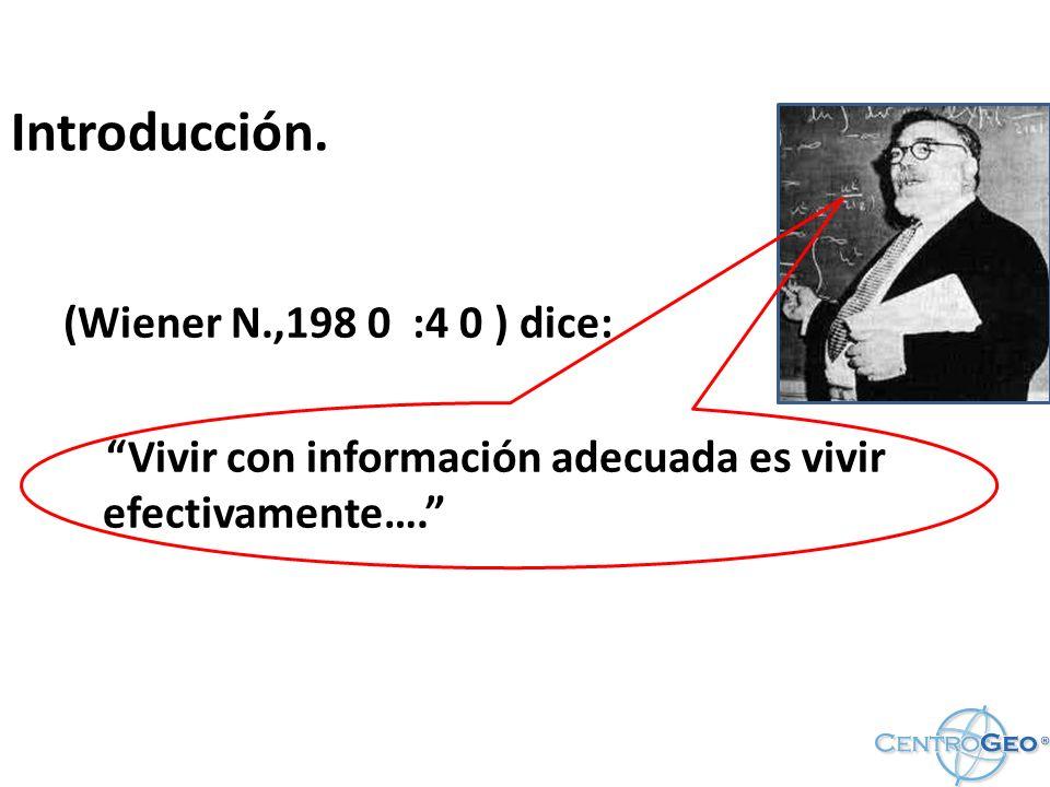 Introducción. (Wiener N.,198 0 :4 0 ) dice: Vivir con información adecuada es vivir efectivamente….