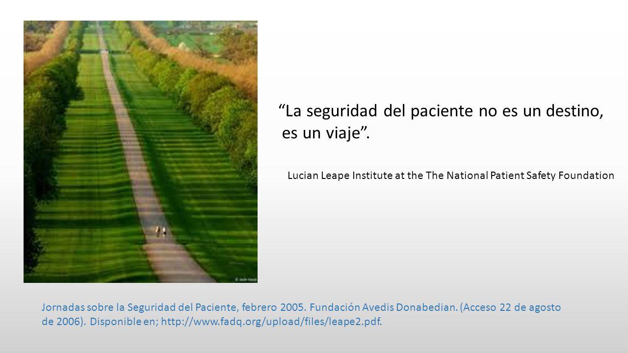 La seguridad del paciente no es un destino, es un viaje. Jornadas sobre la Seguridad del Paciente, febrero 2005. Fundación Avedis Donabedian. (Acceso