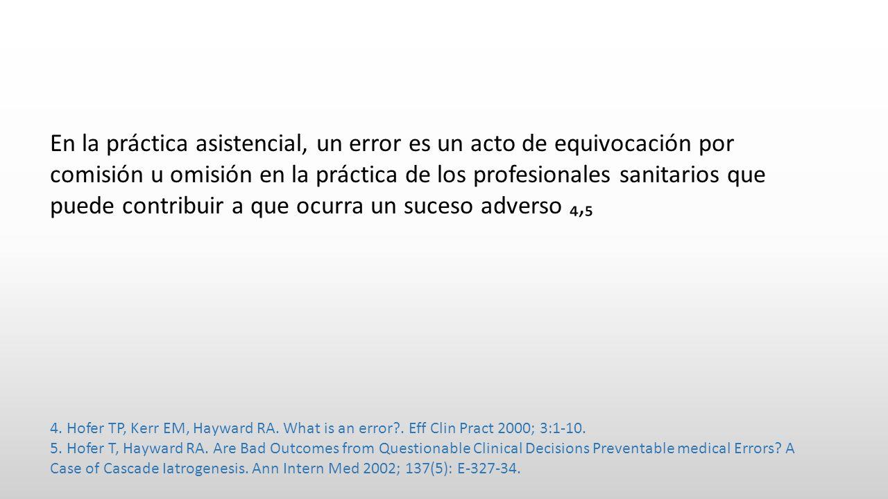 En la práctica asistencial, un error es un acto de equivocación por comisión u omisión en la práctica de los profesionales sanitarios que puede contribuir a que ocurra un suceso adverso, 4.