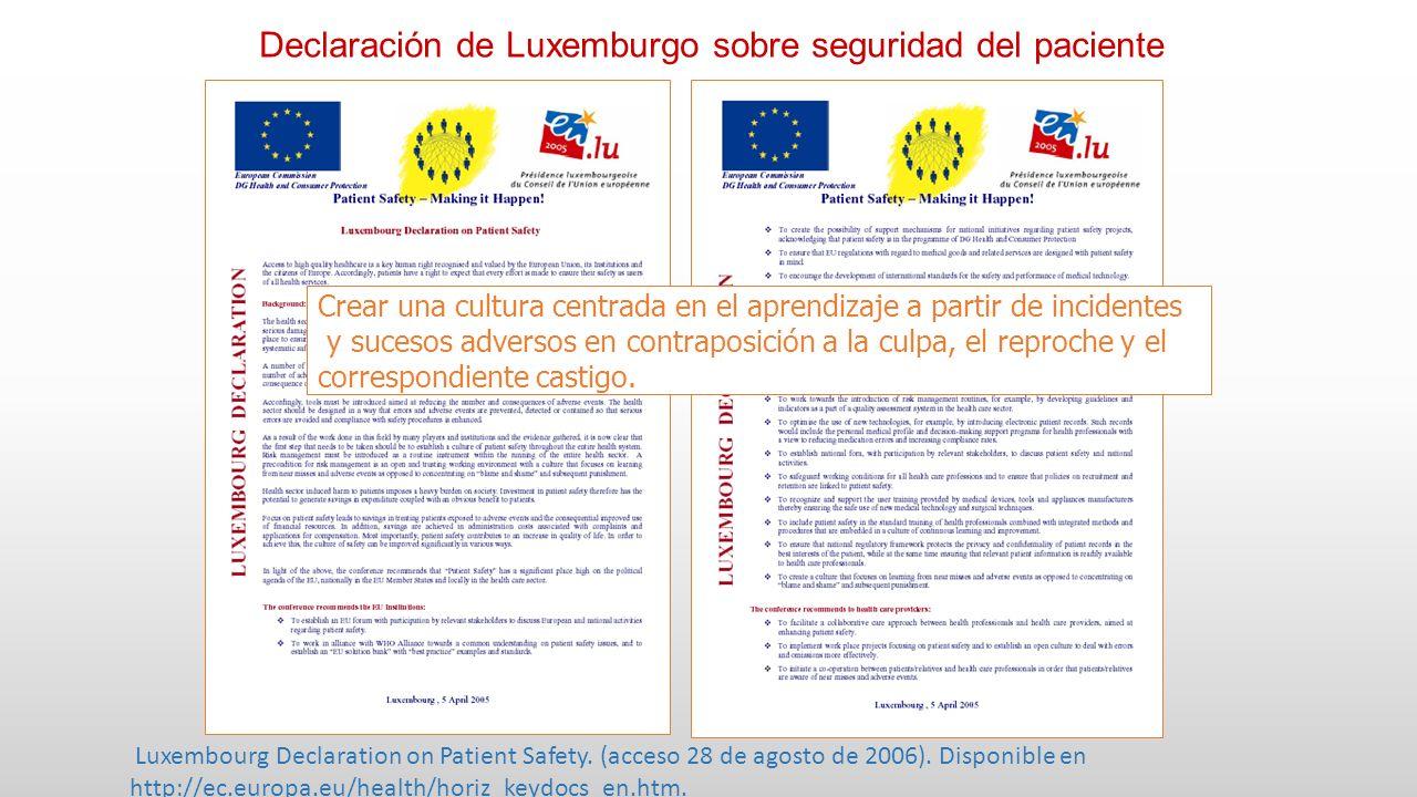 Declaración de Luxemburgo sobre seguridad del paciente Crear una cultura centrada en el aprendizaje a partir de incidentes y sucesos adversos en contraposición a la culpa, el reproche y el correspondiente castigo.