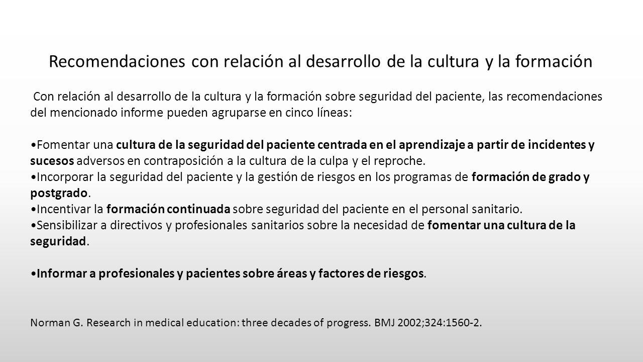 Recomendaciones con relación al desarrollo de la cultura y la formación Con relación al desarrollo de la cultura y la formación sobre seguridad del pa