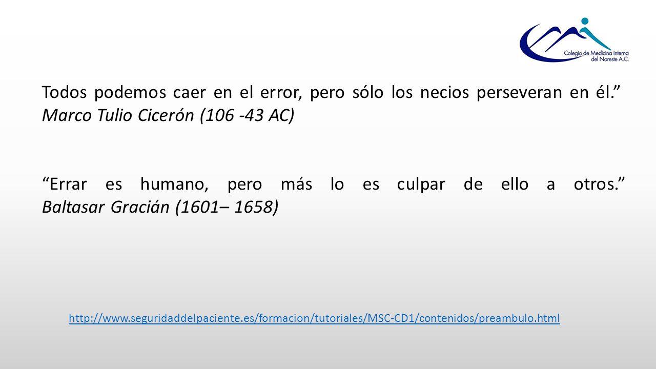 Todos podemos caer en el error, pero sólo los necios perseveran en él. Marco Tulio Cicerón (106 -43 AC) Errar es humano, pero más lo es culpar de ello