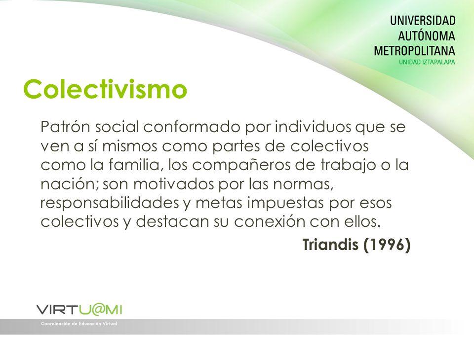 Colectivismo Patrón social conformado por individuos que se ven a sí mismos como partes de colectivos como la familia, los compañeros de trabajo o la