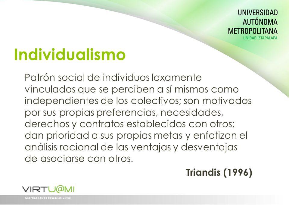 Individualismo Patrón social de individuos laxamente vinculados que se perciben a sí mismos como independientes de los colectivos; son motivados por s