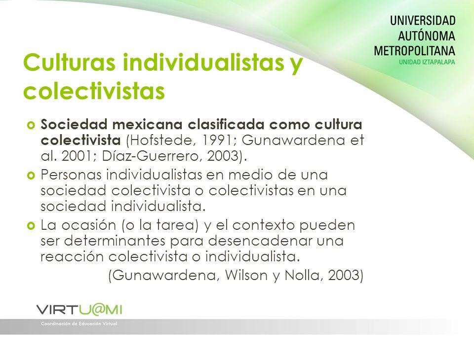 Culturas individualistas y colectivistas Sociedad mexicana clasificada como cultura colectivista (Hofstede, 1991; Gunawardena et al. 2001; Díaz-Guerre