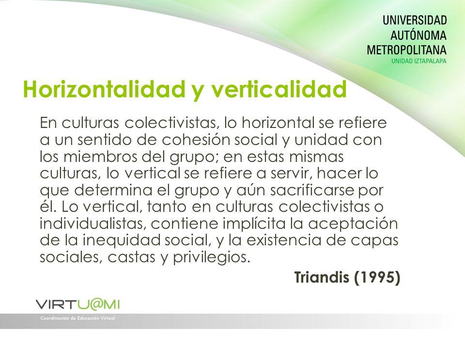 Horizontalidad y verticalidad En culturas colectivistas, lo horizontal se refiere a un sentido de cohesión social y unidad con los miembros del grupo;