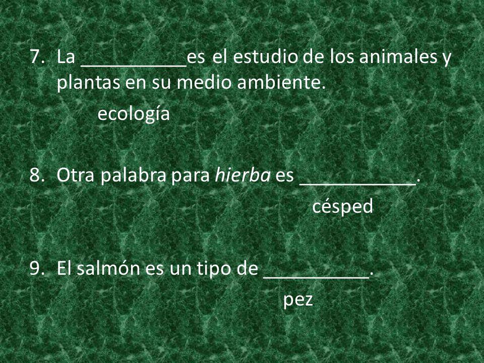 7.La __________es el estudio de los animales y plantas en su medio ambiente. ecología 8.Otra palabra para hierba es ___________. césped 9.El salmón es