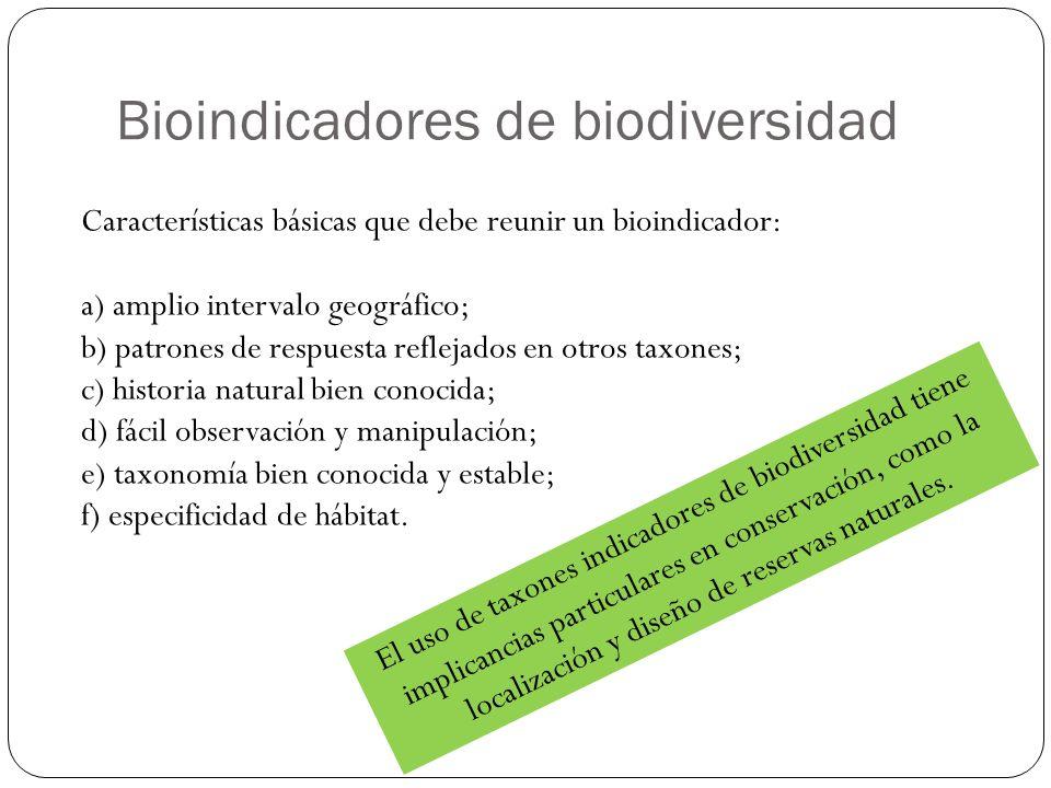 Bioindicadores de biodiversidad Características básicas que debe reunir un bioindicador: a) amplio intervalo geográfico; b) patrones de respuesta refl