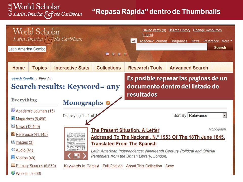 23 Es posible repasar las paginas de un documento dentro del listado de resultados Repasa Rápida dentro de Thumbnails
