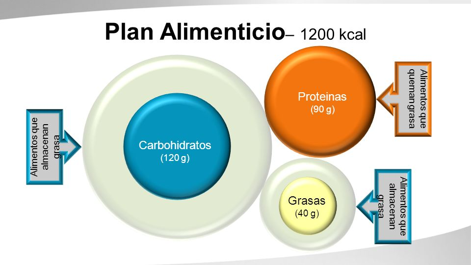 Carbohydrates (260g) Proteins (90g) Fats (67g) Alimentos que queman grasa Alimentos que almacenan grasa Carbohidratos (120 g) Grasas (40 g) Plan Alime