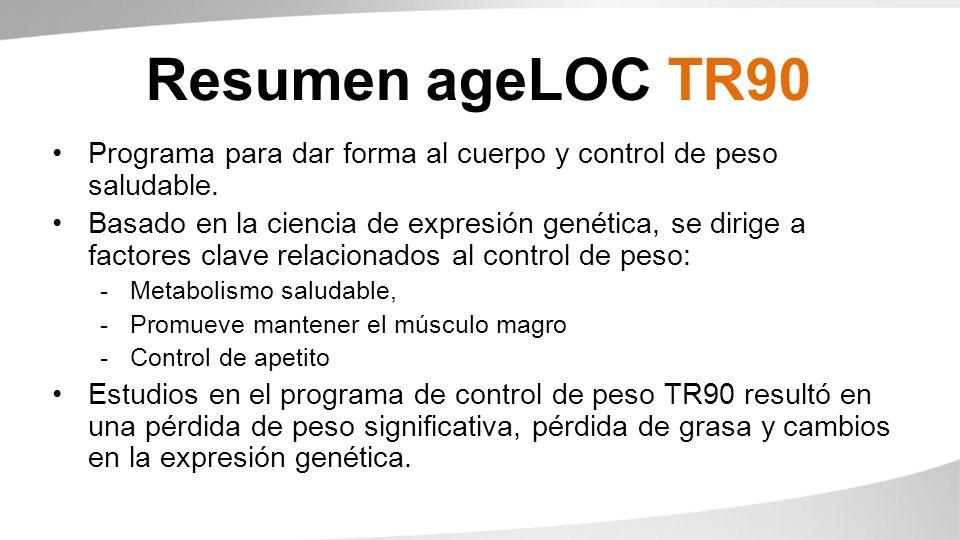 Resumen ageLOC TR90 Programa para dar forma al cuerpo y control de peso saludable. Basado en la ciencia de expresión genética, se dirige a factores cl