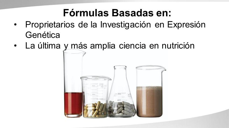 Fórmulas Basadas en: Proprietarios de la Investigación en Expresión Genética La última y más amplia ciencia en nutrición