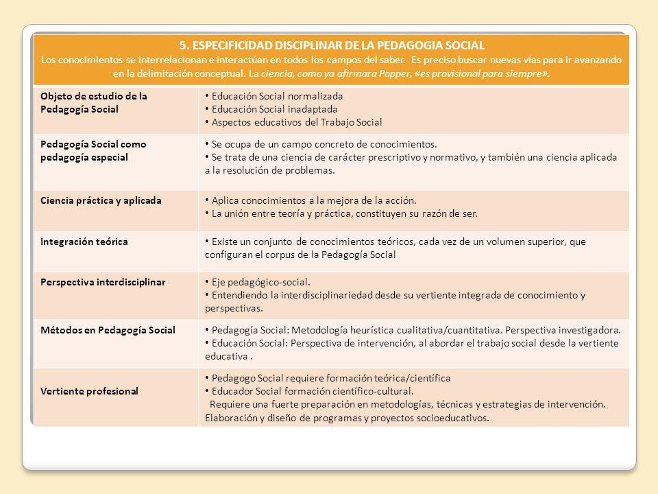 5. ESPECIFICIDAD DISCIPLINAR DE LA PEDAGOGIA SOCIAL Los conocimientos se interrelacionan e interactúan en todos los campos del saber. Es preciso busca