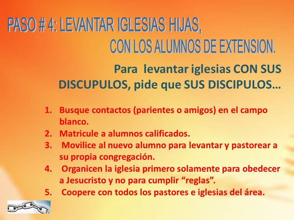 Para levantar iglesias CON SUS DISCUPULOS, pide que SUS DISCIPULOS… 1.Busque contactos (parientes o amigos) en el campo blanco. 2.Matricule a alumnos