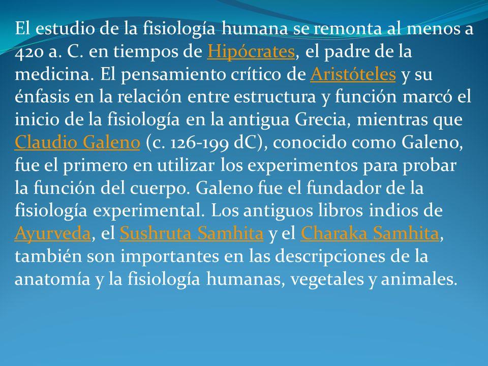 El estudio de la fisiología humana se remonta al menos a 420 a. C. en tiempos de Hipócrates, el padre de la medicina. El pensamiento crítico de Aristó