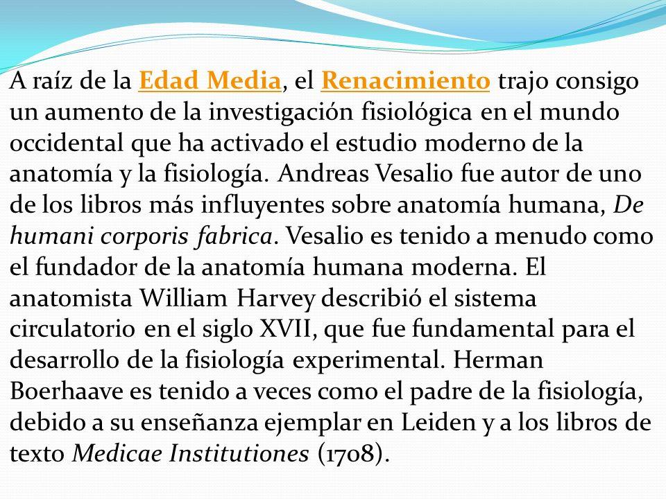 A raíz de la Edad Media, el Renacimiento trajo consigo un aumento de la investigación fisiológica en el mundo occidental que ha activado el estudio mo