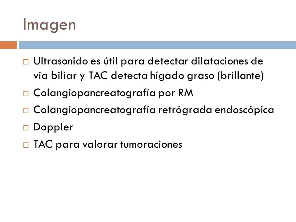 Imagen Ultrasonido es útil para detectar dilataciones de via biliar y TAC detecta hígado graso (brillante) Colangiopancreatografía por RM Colangiopancreatografía retrógrada endoscópica Doppler TAC para valorar tumoraciones