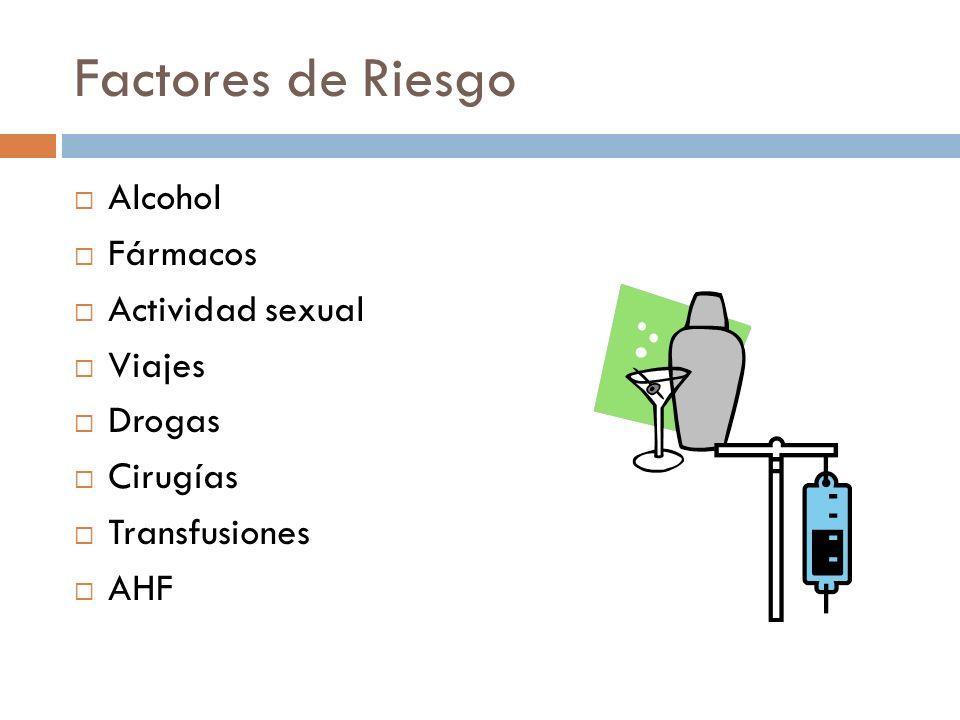 Factores de Riesgo Alcohol Fármacos Actividad sexual Viajes Drogas Cirugías Transfusiones AHF