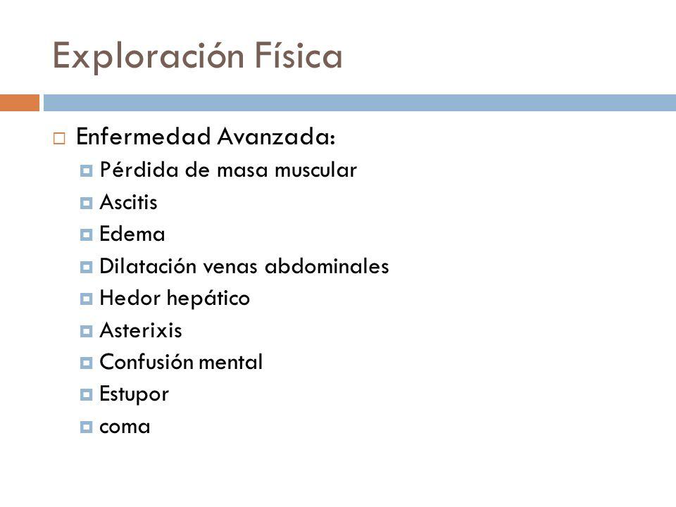 Exploración Física Enfermedad Avanzada: Pérdida de masa muscular Ascitis Edema Dilatación venas abdominales Hedor hepático Asterixis Confusión mental Estupor coma
