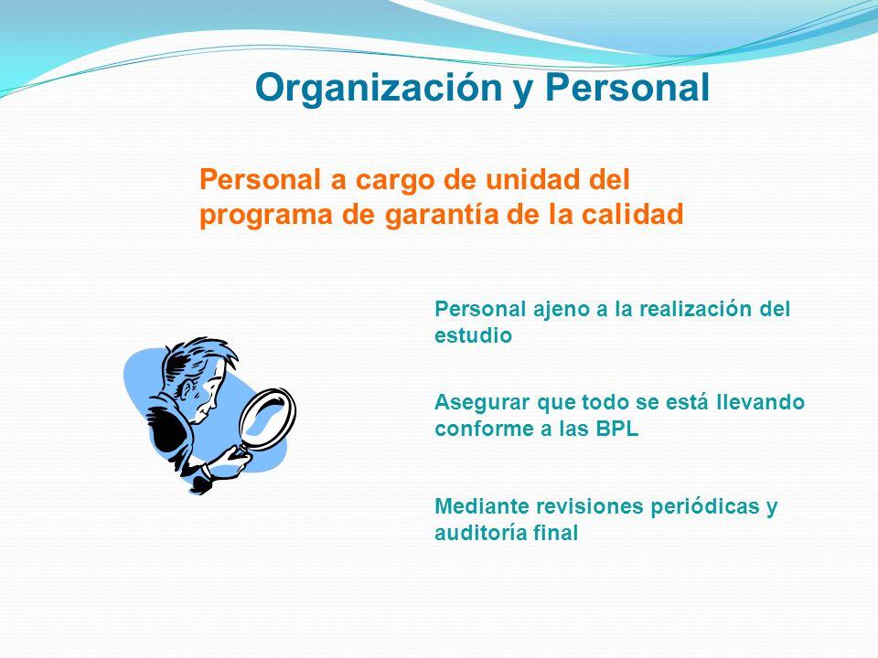 Personal a cargo de unidad del programa de garantía de la calidad Organización y Personal Personal ajeno a la realización del estudio Asegurar que tod