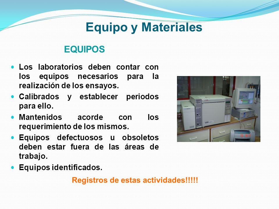 Equipo y Materiales EQUIPOS Los laboratorios deben contar con los equipos necesarios para la realización de los ensayos. Calibrados y establecer perio
