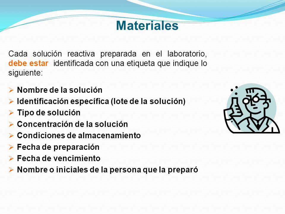Materiales Cada solución reactiva preparada en el laboratorio, debe estar identificada con una etiqueta que indique lo siguiente: Nombre de la solució