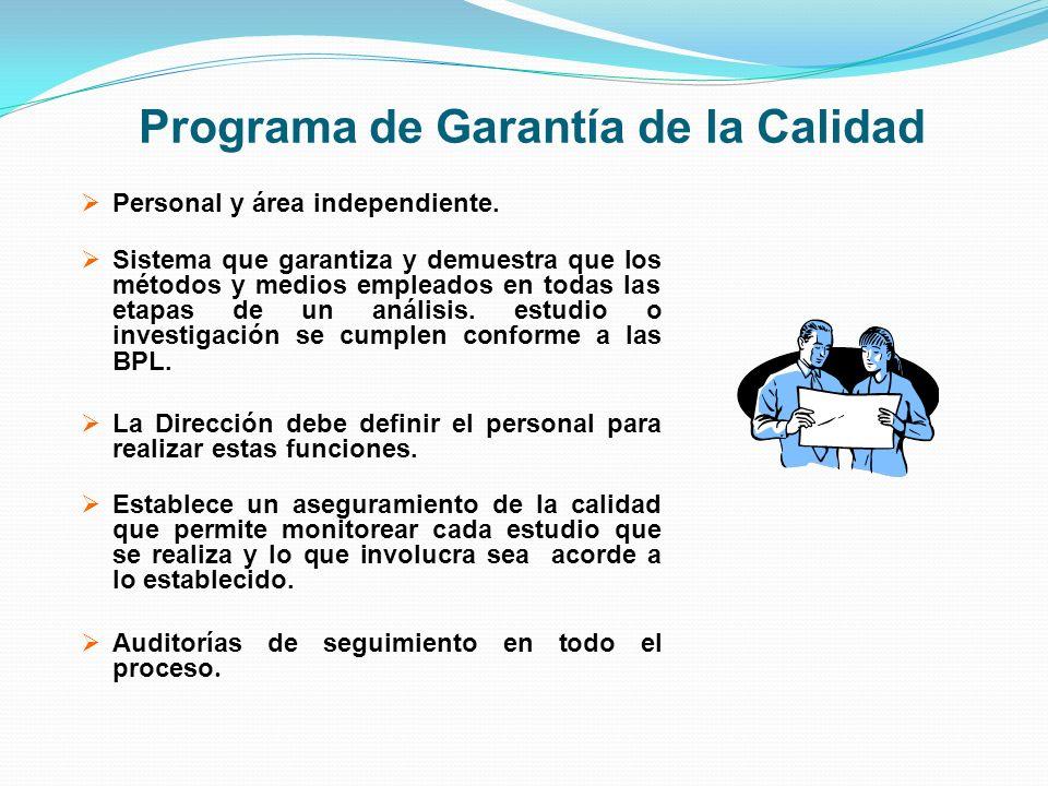Programa de Garantía de la Calidad Personal y área independiente. Sistema que garantiza y demuestra que los métodos y medios empleados en todas las et