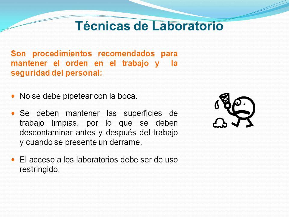 Técnicas de Laboratorio Son procedimientos recomendados para mantener el orden en el trabajo y la seguridad del personal: No se debe pipetear con la b