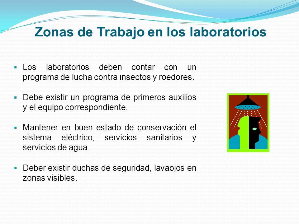 Zonas de Trabajo en los laboratorios Los laboratorios deben contar con un programa de lucha contra insectos y roedores. Debe existir un programa de pr