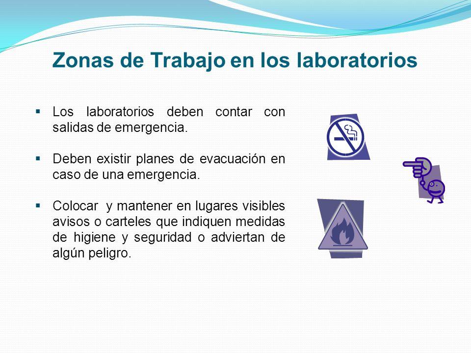 Zonas de Trabajo en los laboratorios Los laboratorios deben contar con salidas de emergencia. Deben existir planes de evacuación en caso de una emerge