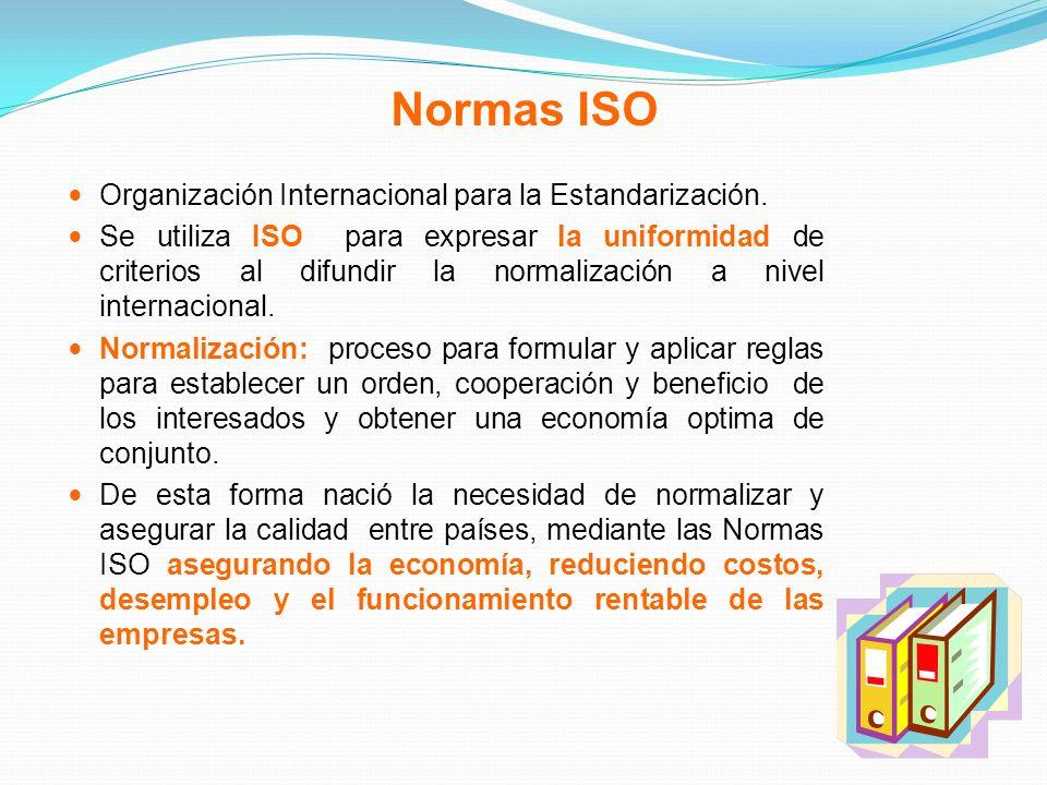 Normas ISO Organización Internacional para la Estandarización. Se utiliza ISO para expresar la uniformidad de criterios al difundir la normalización a