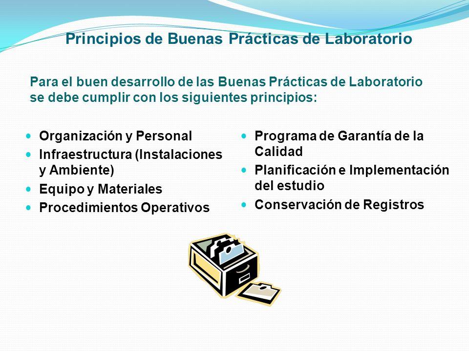 Principios de Buenas Prácticas de Laboratorio Para el buen desarrollo de las Buenas Prácticas de Laboratorio se debe cumplir con los siguientes princi