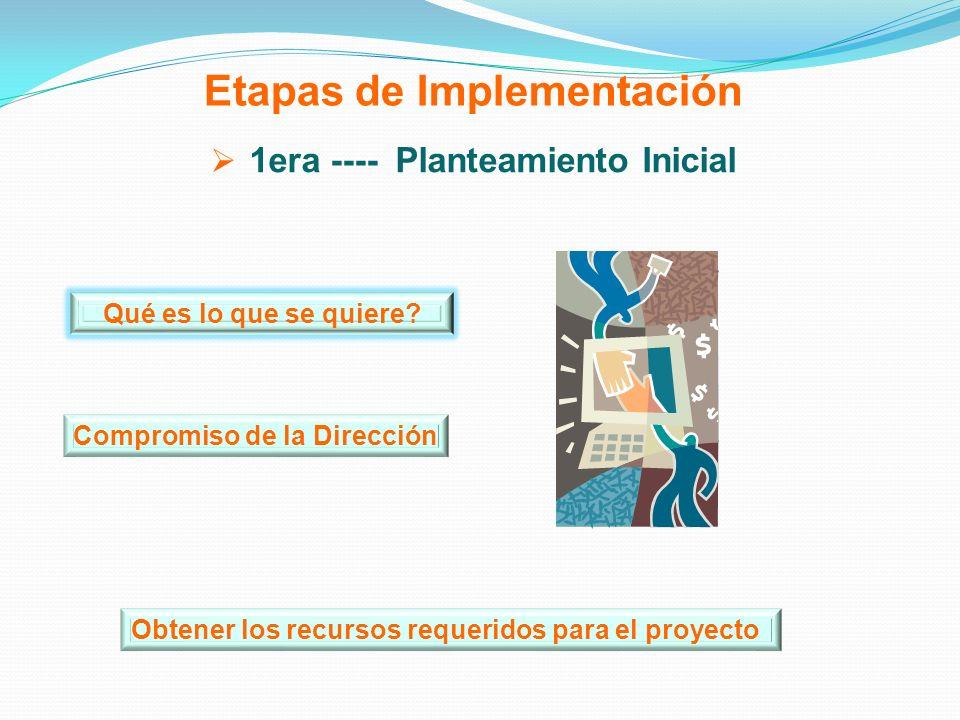 Etapas de Implementación 1era ---- Planteamiento Inicial Obtener los recursos requeridos para el proyecto Qué es lo que se quiere? Compromiso de la Di