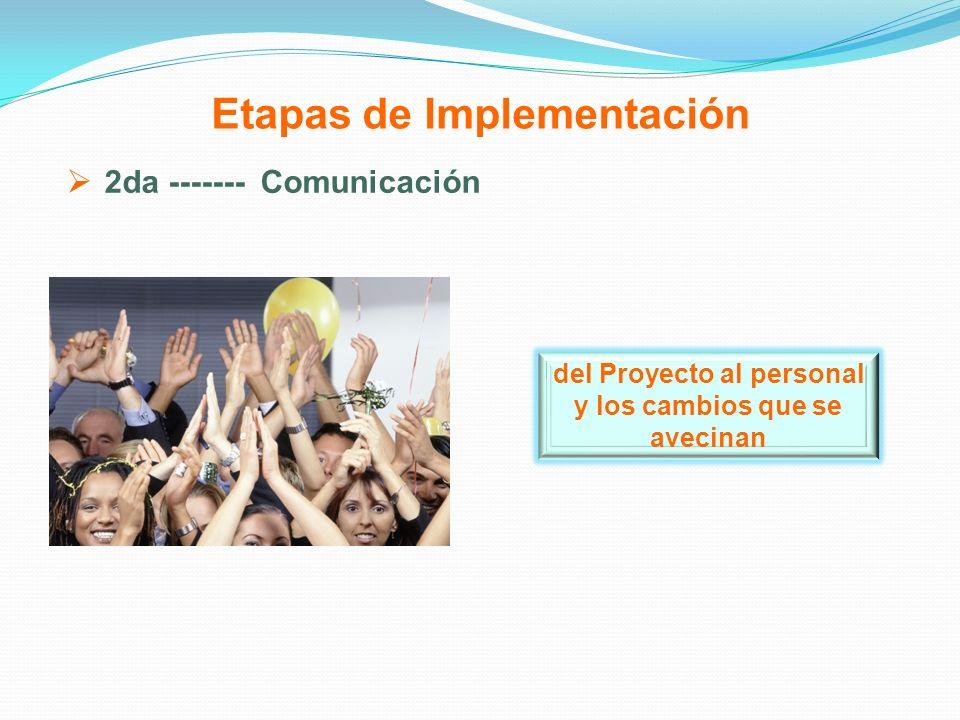 Etapas de Implementación 2da ------- Comunicación del Proyecto al personal y los cambios que se avecinan