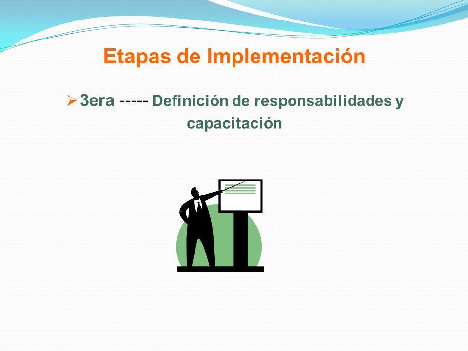 Etapas de Implementación 3era ----- Definición de responsabilidades y capacitación