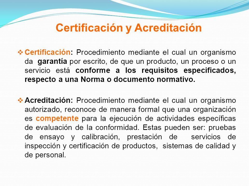 Certificación y Acreditación Certificación: Procedimiento mediante el cual un organismo da garantía por escrito, de que un producto, un proceso o un s