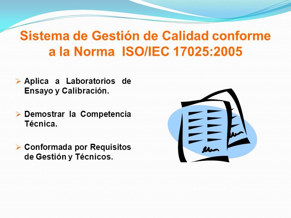 Sistema de Gestión de Calidad conforme a la Norma ISO/IEC 17025:2005 Aplica a Laboratorios de Ensayo y Calibración. Demostrar la Competencia Técnica.