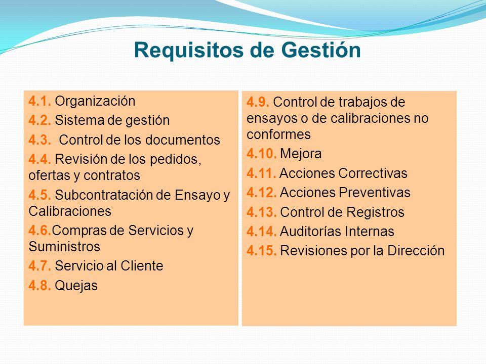 Requisitos de Gestión 4.1. Organización 4.2. Sistema de gestión 4.3. Control de los documentos 4.4. Revisión de los pedidos, ofertas y contratos 4.5.