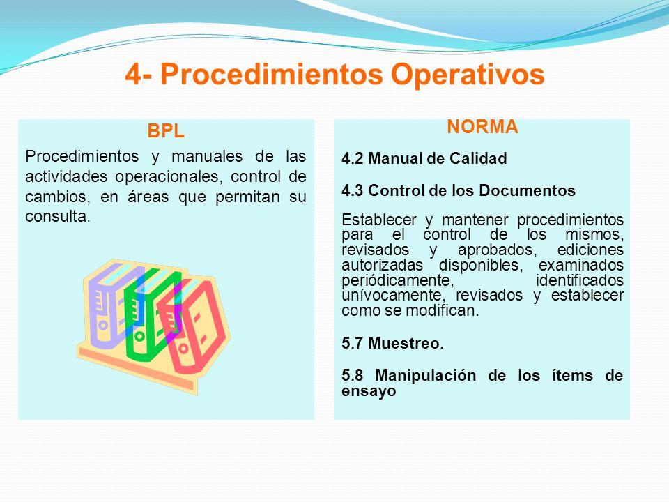 4- Procedimientos Operativos BPL Procedimientos y manuales de las actividades operacionales, control de cambios, en áreas que permitan su consulta. NO