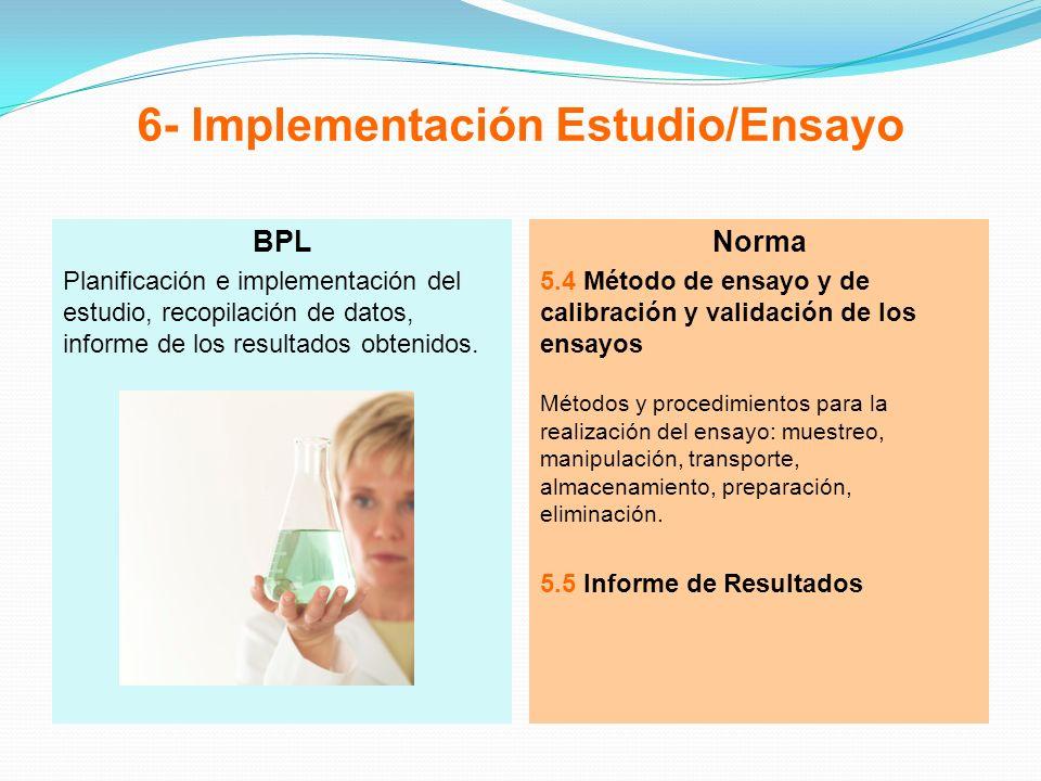 6- Implementación Estudio/Ensayo BPL Planificación e implementación del estudio, recopilación de datos, informe de los resultados obtenidos. Norma 5.4
