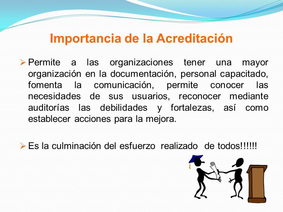 Importancia de la Acreditación Permite a las organizaciones tener una mayor organización en la documentación, personal capacitado, fomenta la comunica