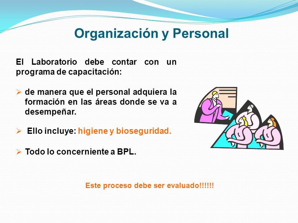 Organización y Personal El Laboratorio debe contar con un programa de capacitación: de manera que el personal adquiera la formación en las áreas donde