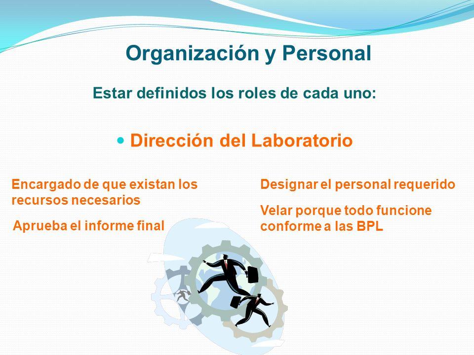 Organización y Personal Estar definidos los roles de cada uno: Dirección del Laboratorio Encargado de que existan los recursos necesarios Aprueba el i