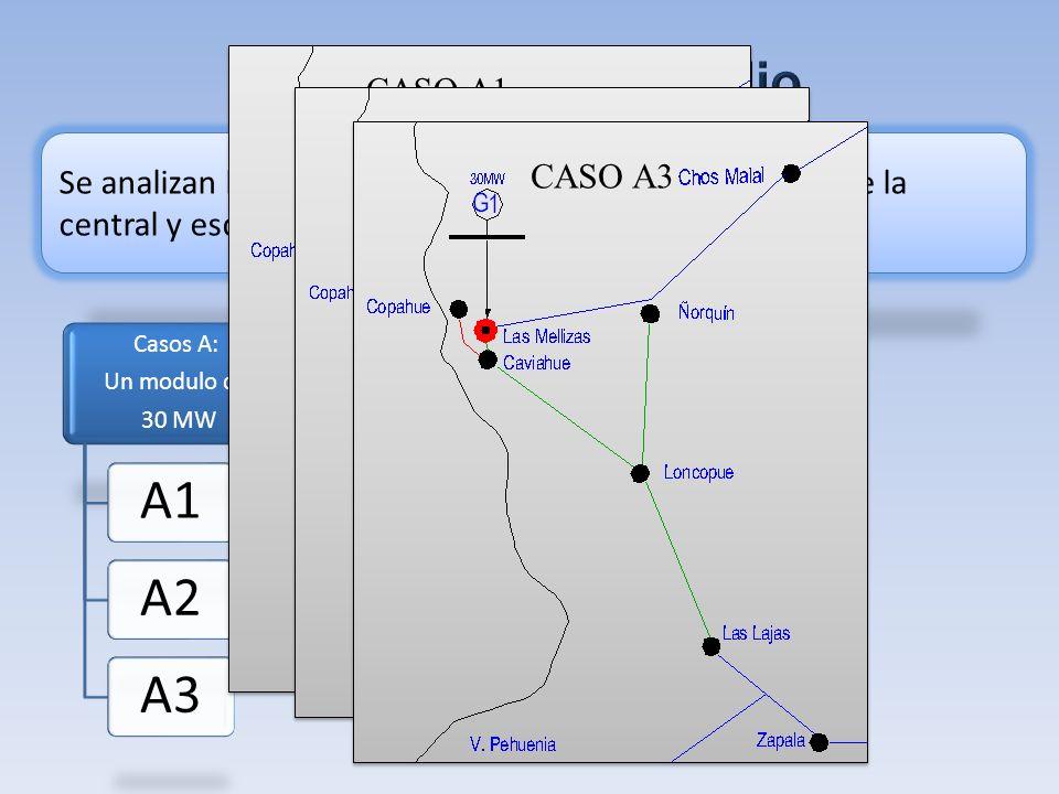 Se analizan los siguientes escenarios de equipamiento de la central y esquemas de conexión al sistema. CASO A1 CASO A2 CASO A3