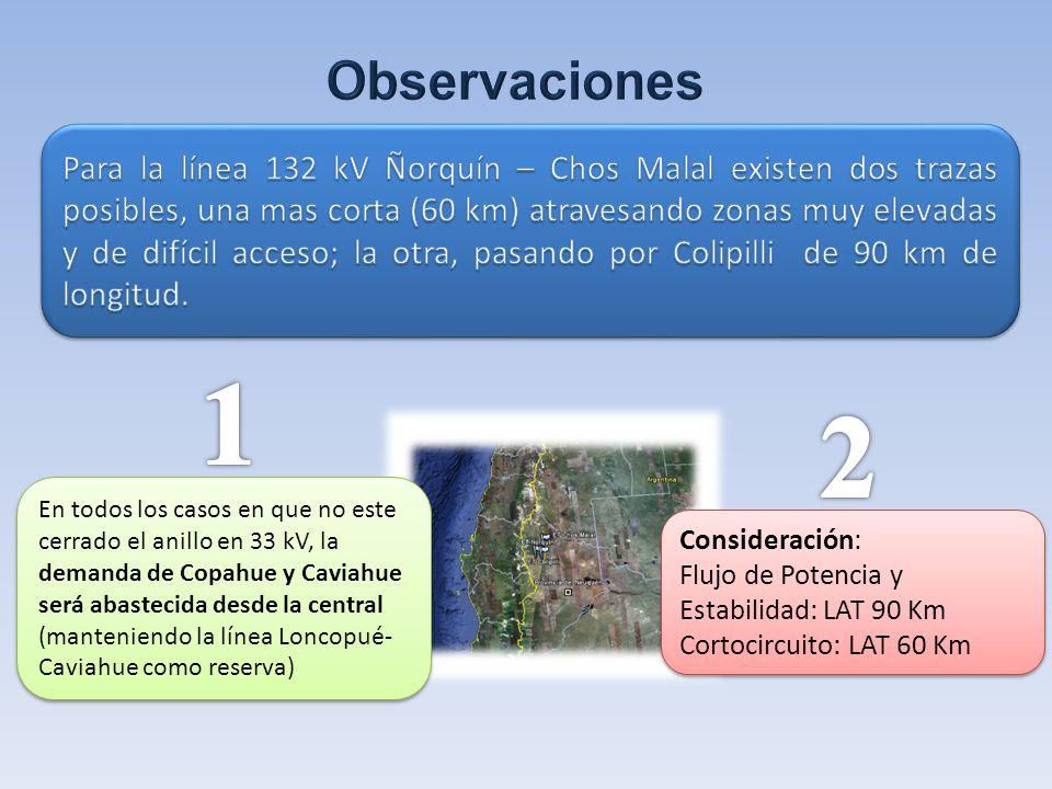 En todos los casos en que no este cerrado el anillo en 33 kV, la demanda de Copahue y Caviahue será abastecida desde la central (manteniendo la línea